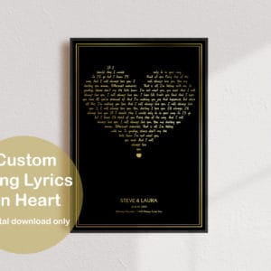 song gold prv 1 300x300 - Custom Song Lyrics Gold Heart Print