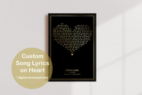 Custom Song Lyrics Gold Heart Print