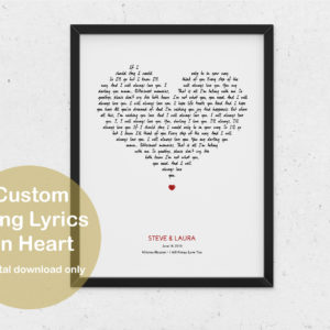 song prv 1 300x300 - Custom Song Lyrics White Heart Print