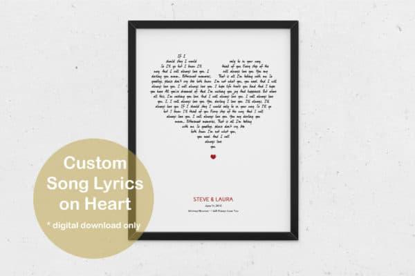 Custom Song Lyrics White Heart Print