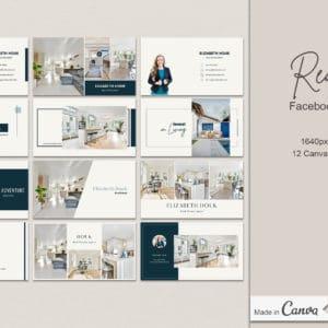 12 Real Estate Facebook Cover Canva Templates
