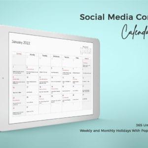 2022 Social Media Content Calendar A4, Canva And PDF